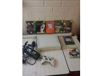 Xbox 360 Bundle in White with 1 controller, charger, wifi adapter and 8 games