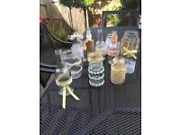 58 Assorted rustic decorated glass jars - used as wedding centrepieces