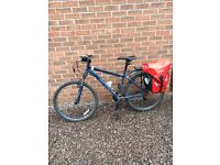 """Specialized women's 17"""" mountain bike with pannier and bag"""