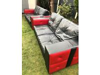 Dfs black & red leather sofas immaculate can deliver today