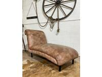 BARKER AND STONEHOUSE CHAISE LOUNGE LEATHER BROWN