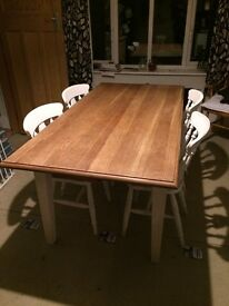 Painted oak table 180 x 90cm. Good condition but chairs may require additional coat of paint.