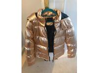 Rose gold hooded jacket size 10 brand new