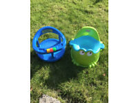 Fisher Price Froggy Potty and Safety First Blue Swivel Bath Tub, Seat Baby Infant Bathing Chair