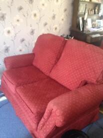 2x2 seater red sofas