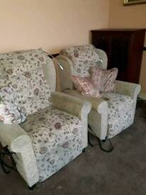 Rise and recline chairs and matching sofa