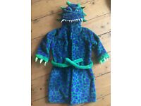 AS NEW M&S kids hooded dragon dinosaur dressing gown. 4-5 yrs years. Two available (twins).RRP £16