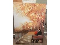 Autumn river canvas painting