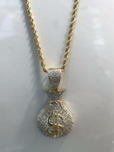 10kt Yellow Gold 0.52ct Diamond Bag of money Pendant Set With 24 inch 2.5mm Rope chain