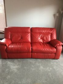 Red Leather Sofa with Footstool