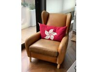 Rubens wingback armchair and footstool brown leather from Made