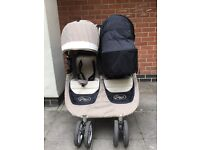City mini double seat stroller with X1 carrycot and adapters