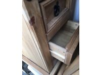 Genuine pinewood compact bedside tables x 2