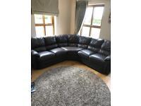 Brown leather corner sofa..., sold