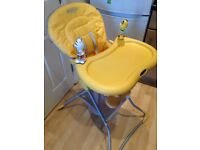 Graco high chair. Folds for easier storage. Detachable tray and toys. Excellent condition