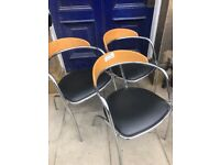 3 x Chrome and black leather chairs . Made in Italy.