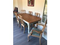 Farmhouse dinning table with six chairs