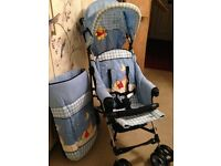 *NEW* HAUCK Disney Blue Winnie The Pooh Pram/Buggy/Stroller (with Leg Cosy & Hood) - BOXED