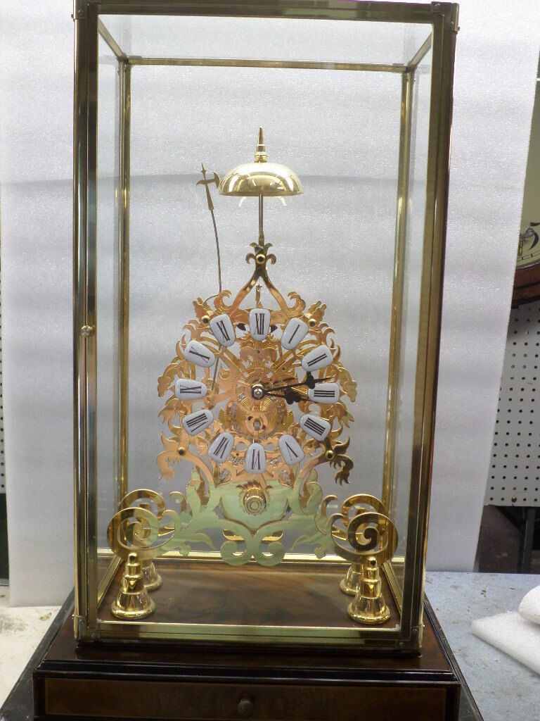 24K Rococo Skeleton Clock-Porcelain Cartouche Dial & Chain Fusee