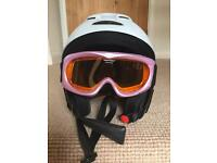 Childrens ski helmet and goggles