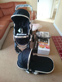 New iCandy Peach 2 Pushchair and Carrycot plus accessories in Black Magic
