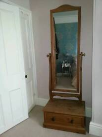 Large pine quality cheval mirror