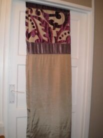 LINED, SILK CURTAINS. 72 LONG X 66 WIDE. IVORY / PLUM