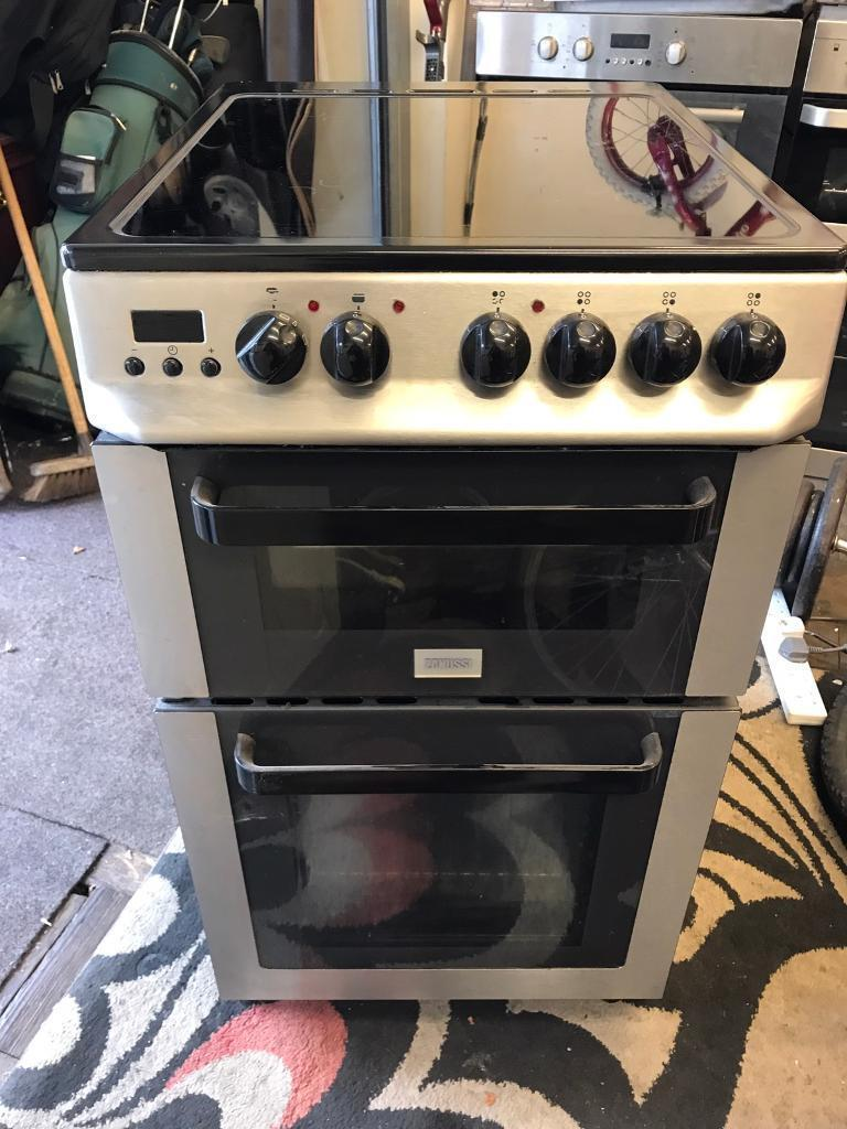 Stainless steel and black Zanussi Electric cooker 50 cm wide