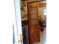 Walnut corner display cabinet