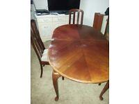 LONG MAHOGANY TABLE & CHAIRS.