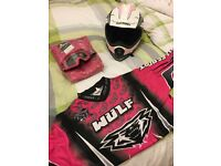 Girls pink motorcross mx clothing helmet and goggles