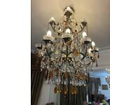 Large beautiful crystal long chandelier