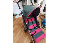 Dimples pink and grey stroller