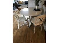 Round Table & 3 Farmhouse style painted shabby chic chairs