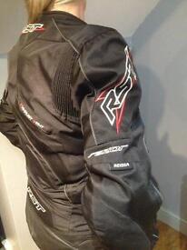 Ladies black bike jacket and matching leather pants