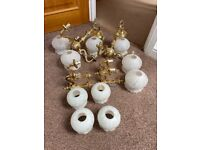 FREE 2 x ceiling lights, 4 x wall lights. Brass with glass shaded