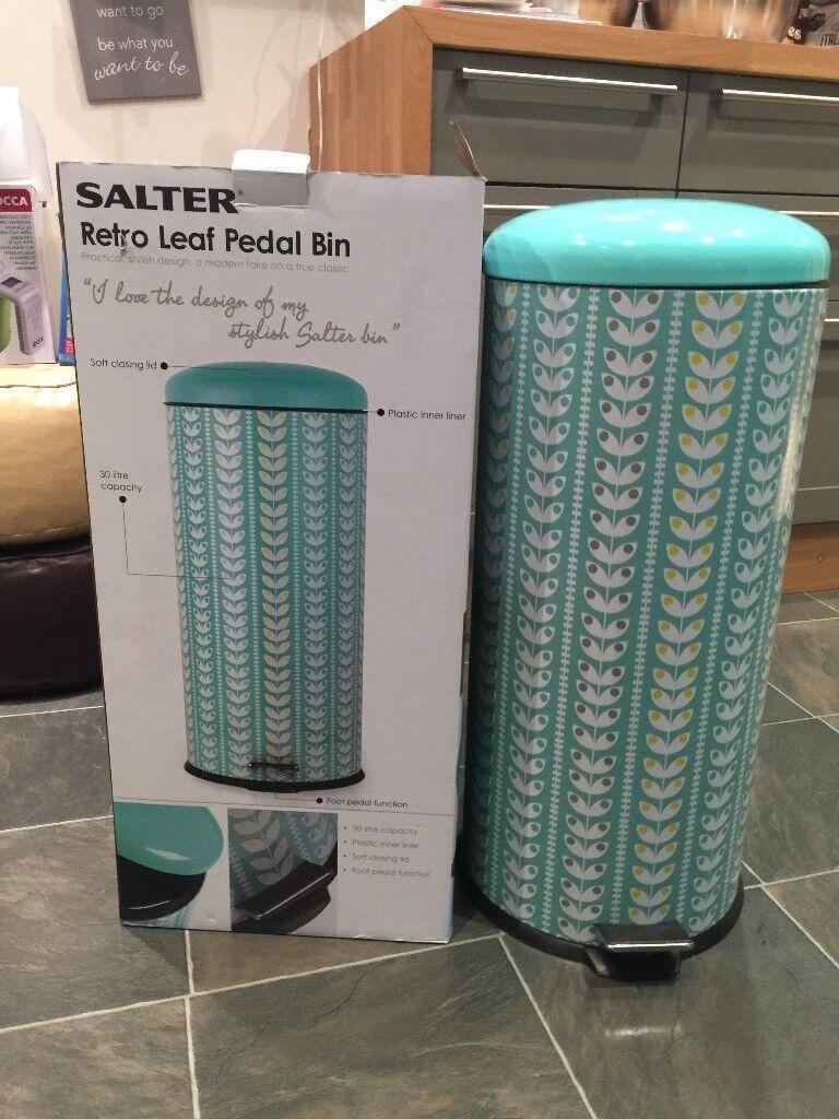 Brand New Salter 30L Retro Leaf Pedal Bin
