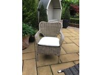 Wicker armchairs(two) - natural colour with ivory seat pad. As new.