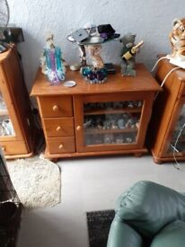 Pine glass door unit with drawers
