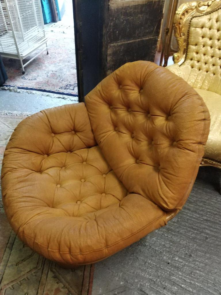 pair two matching retro deep button original tub chair in