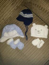 Boys winter hats/mittens. 0-3 months