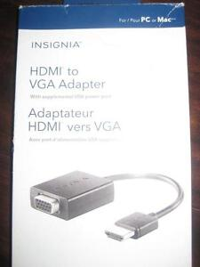 Insignia HDMI to VGA Adapter. Connect Desktop / Laptop / Computer PC to Display Monitor / TV. USB Power for Macbook. NEW
