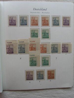 Briefmarkensammlung SBZ / West-Sachsen ** mit Block 5 X/Y auf 3 Seiten