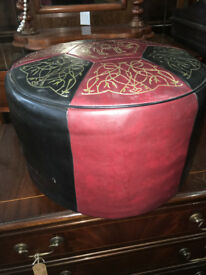 Delightful Vintage Retro 60's Red, Black & Gold Round Sherborne Foot Stool Pouffe