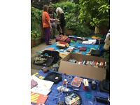 Today: garden sale. Clothes, books, records, household, camping, etc.