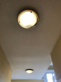 3 CEILING LIGHTS GOLD IN COLOUR WITH FROSTED GLASS bayonet BULB FITTING