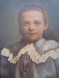 Antique Oil Painting of Child - c1900