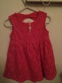 Girls pretty pink summer dress age 12-18 month
