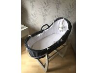 Mama and pappas dark grey wicker Moses basket with stand