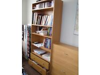 4 Shelf 2 Drawer Extra Deep Bookcase - Oak Effect